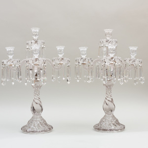 Pair of French Molded and Cut Glass Five Light Candelabra