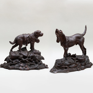 Two German Black Forest Carved Canine Figural Groups