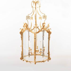 Fine and Large George II Style Gilt-Bronze Hall Lantern