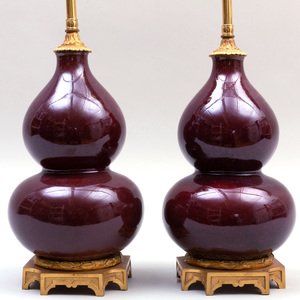 Pair of Chinese Ormolu-Mounted Copper Red Glazed Porcelain Double Gourd Vases Mounted as Lamps