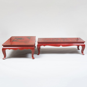 Two Chinese Red Lacquer and Parcel-Gilt Low Tables