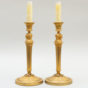 Pair of Louis XVI Style Candlesticks Mounted as Lamps