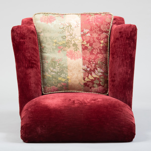 Set of Four Red Velvet and Damask Upholstered Club Chairs