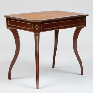 Russian Brass-Mounted Mahogany Small Writing Table