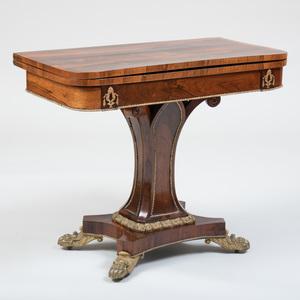 Fine Regency Gilt-Metal-Mounted Rosewood Card Table