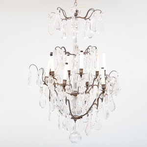 Louis XV Style Bronze and Brass-Mounted Glass Twelve Light Chandelier