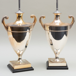 Pair of Silver Plated Pistol Handled Urns Mounted as Lamps