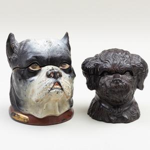 Two English Pottery Dog Form Tobacco Jars