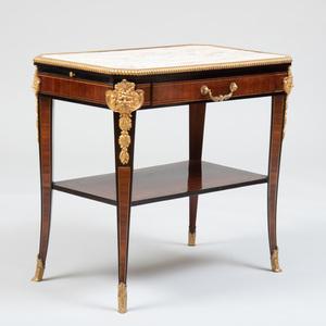 Napoleon III Ormolu and Brass-Mounted Mahogany and Ebonized Side Table