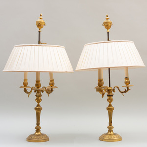 Pair of Louis XVI Style Gilt-Bronze Candelabra Mounted as Lamps