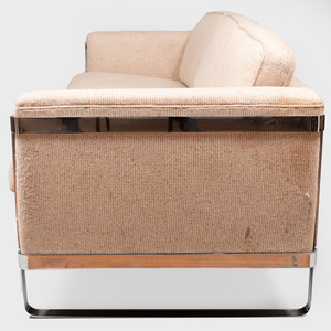 Large Chrome Strap and Tweed Three Seat Sofa, Attributed to Milo Baughman