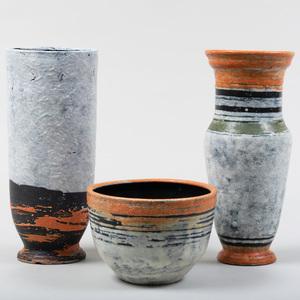 Group of Three Gorka Livia Glazed Earthenware Vessels