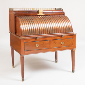 Russian Late Neoclassical Brass-Mounted Mahogany Cylinder Desk