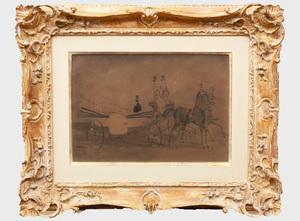 Attributed to Constantin Guys (1802-1892): La Promenade en Voiture