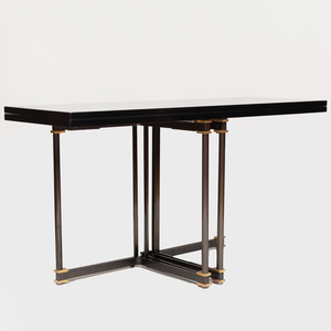 Maison Jansen Parcel-Gilt Brushed-Metal and Lacquer Extension Dining Table
