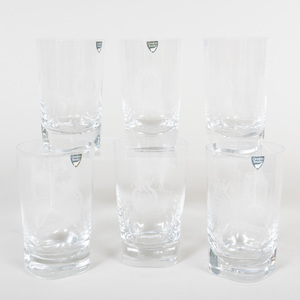 Set of Six Orrefors Glass Tumblers Commemorating the 1971 Epsom Derby