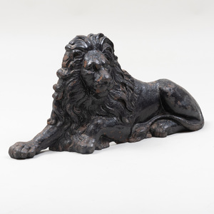Recumbent Lion Form Black Painted Cast-Iron Door Stop