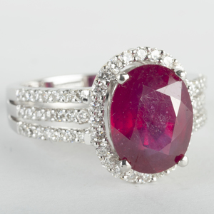 18k White Gold, Ruby and Diamond Ring