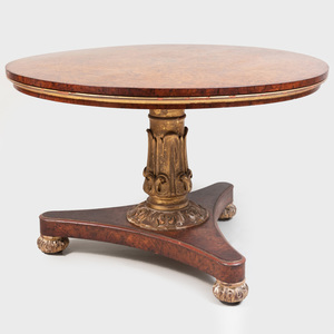 George IV Burl  Mulberry and Parcel-Gilt Center Table