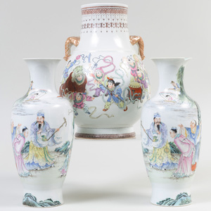 Chinese Famille Rose Porcelain Hu Form Vase