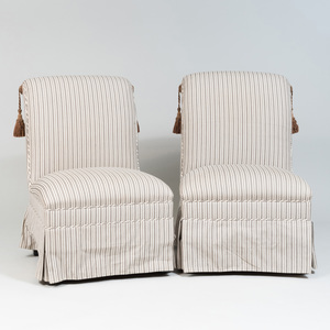 Pair of Striped Cotton Slipper Chairs