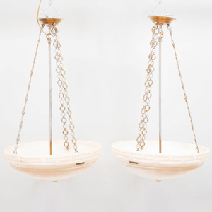 Pair of Neoclassical Style Alabaster Ceiling Lights