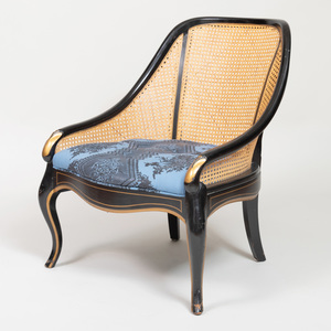 Ebonized and Parcel-Gilt Spoon Back Caned Side Chair, of Recent Manufacture