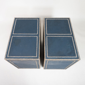 Pair of Studded and Fabric Covered Bookcases, of Recent Manufacture