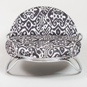 Chrome Rocker Upholstered in an Ikat Pattern, of Recent Manufacture