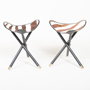 Pair of Folding Ebonized and Zebra Skin Stools