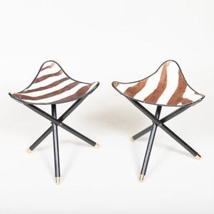 Pair of Folding Ebonized and Zebra Skin Stools