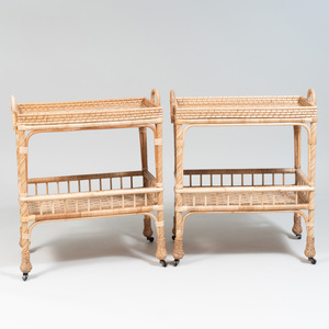 Pair of Wicker Two Tier Bar Carts, of Recent Manufacturer
