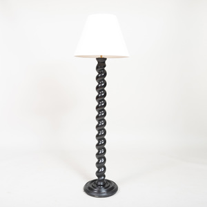 Ebonized Barley Twist Floor Lamp, of Recent Manufacture