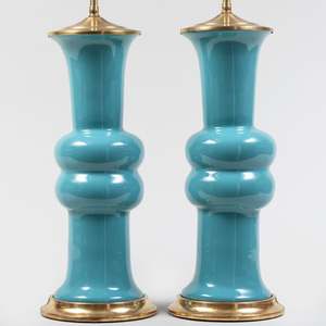 Pair of Turquoise Porcelain Lamps, Designed by Christopher Spitz-Miller
