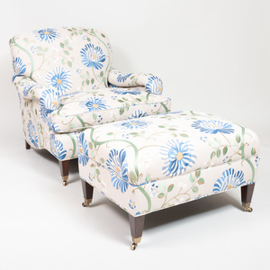 Manuel Canovas Upholstered Club Chair and Ottoman