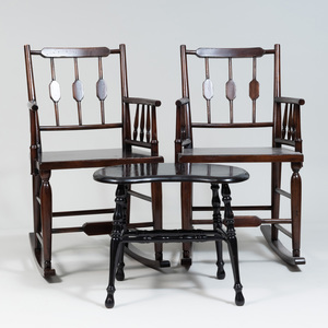 Pair of Rustic Stained Wood Rocking Chairs