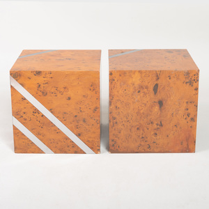Pair of Modern Olivewood and Nickel Cubes