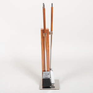 Modern Rosewood and Chrome Fire Tools