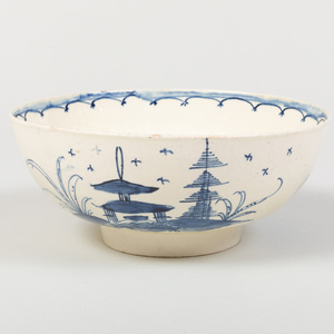 English Creamware Bowl Painted with Chinoiserie Landscapes