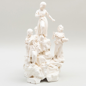 Large Naples Creamware Figural Center Table, Probably Giustiniani