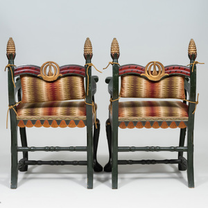 Pair of Swedish Painted and Parcel-Gilt Armchairs, Signed John Tesch, 1897