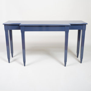Blue Lacquer Console of Breakfront Outline, of Recent Manufacture