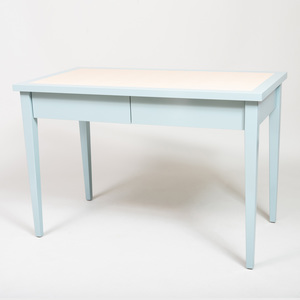 Pale Blue Lacquer and Faux Snakeskin Leather Desk, of Recent Manufacture
