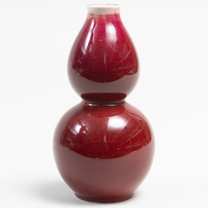Chinese Red Glazed Porcelain Double Gourd Vase