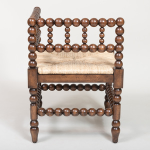 Stained Oak Bobbin-Turned Corner Chair, of Recent Manufacture