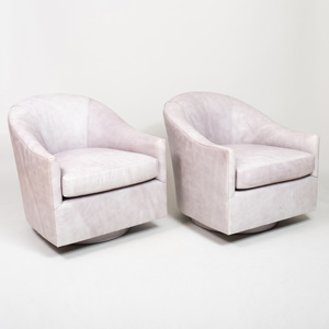 Pair of Edward Ferrell Leather Swivel Tub Chairs, of Recent Manufacture