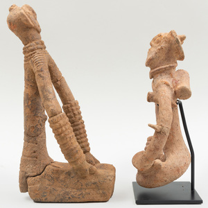 Two Bankoni Terracotta Seated Figures, Mali