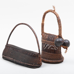 Two Democratic Republic of Congo Woven Reed and Leather Rattles
