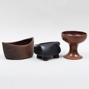 Group of Three African Wood Articles