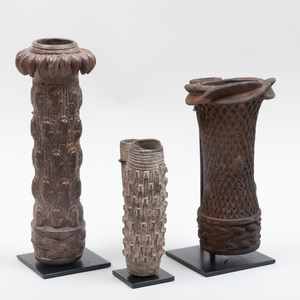 Group of Three Grassfields Pottery Pipes, Cameroon